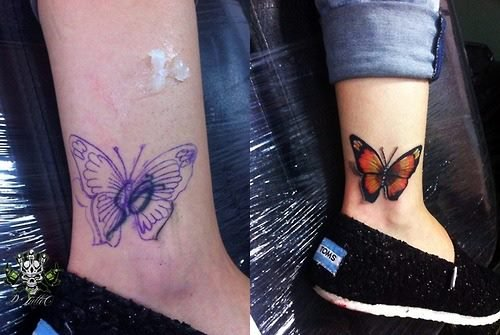 038d42281 Butterfly cover up tattoo. Image Source: Twitter