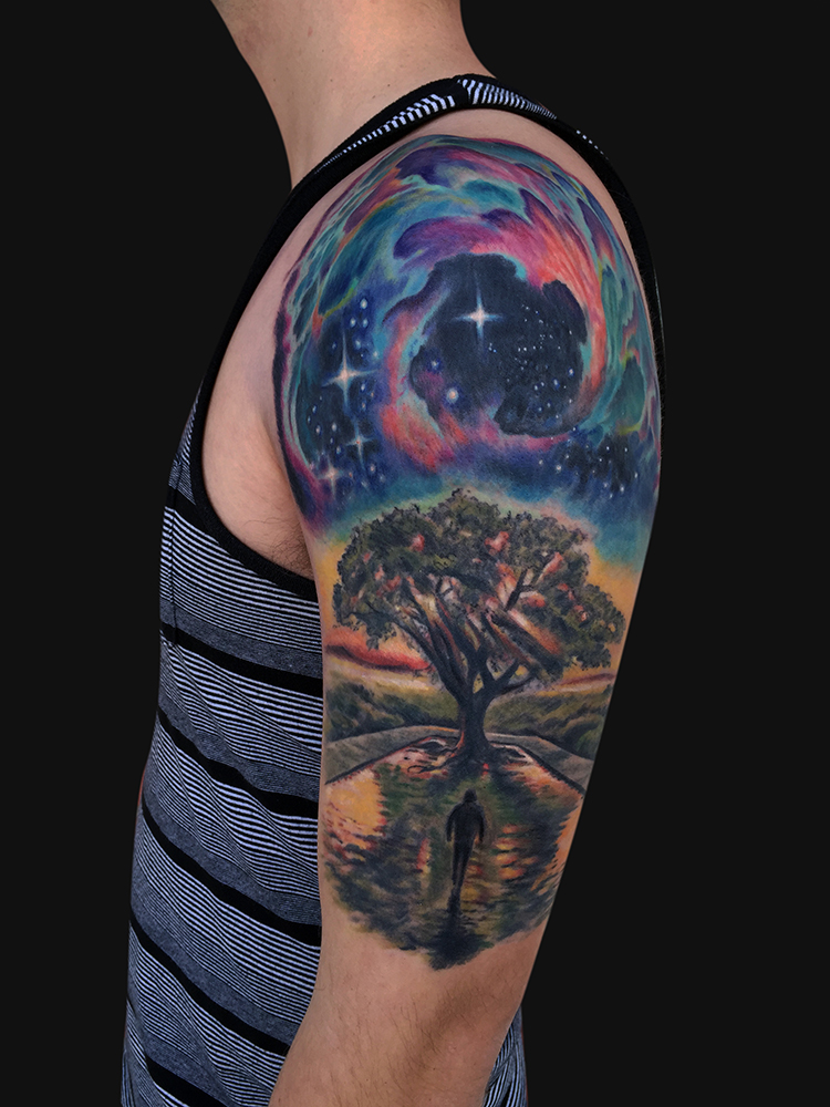 45 galaxy tattoos for out of world experience for Galaxy tattoo sleeve