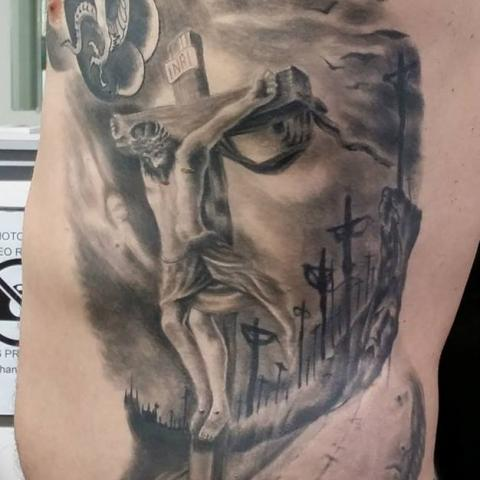 ace89b626 Black and Grey ink Religious Jesus tattoo. Image Source: Tattoo