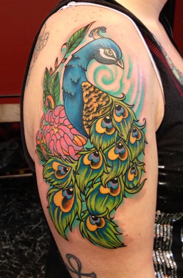 0b57b884c Peacock Tattoo On Shoulder. Image Source: Tattoodesigns24