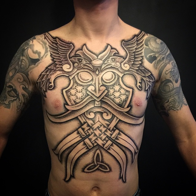 7caf8806a Viking tattoo on full Chest. Image Source: Tattoo-journal